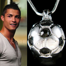 w Swarovski Crystal ~Black 3D Football Soccer Ball Charm Necklace Unisex Jewelry