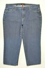 Talbots PLUS Size 20W Women CROP Capri STRETCH Straight Leg DARK Wash Blue Jeans