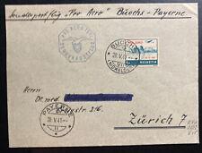 1941 Buochs Switzerland Pro Aviation Flight Airmail Cover To Zurich