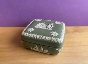 WEDGWOOD  GREEN  JASPER JASPERWARE SQUARE CANDY/ TRINKET BOX