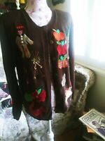 VTG Susan Bristol Hand Embroidered Fall Cardigan / Sweater Pumpkins Leaves etc L