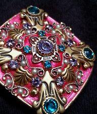 Vintage Michal Golan enamelled rhinstone brooch