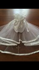 2 Tier White Diamante Holy Communion Veil & Matching Dolly Bag / FREE POSTAGE.