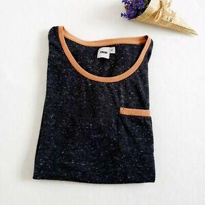 ASOS | Sz XS | Classic Men's Unisex Charcoal Grey T-shirt With Contrast Tan Trim