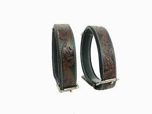 Shwaan Genuine Tooled Leather Dog Collar Floral Pattern handmade