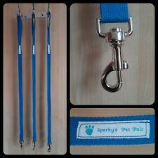 Dog Lead - 100% cotton blue lead with metal swivel clip - handmade 93 cm length