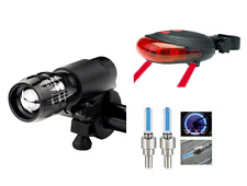 Front zoom LED & rear & wheel valve LEDs bike lights set road mountain bicycle