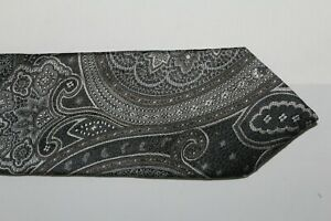 CANALI Made in Italy Grays Silver Victorian Pailsey Silk Tie