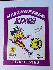 1974 (1/11) Springfield Kings vs Baltimore Clippers AHL Hockey Program GOOD Cond
