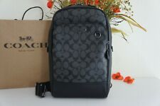 NWT Coach 89937 Graham Sling Pack Signature & Smooth Leather Charcoal Black $350