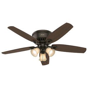 "Hunter Builder Low Profile 52"" Indoor Ceiling Fan with Light Kit, New Bronze"