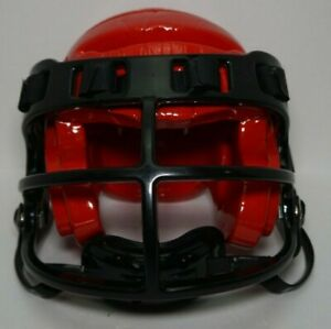 ProForce Lightning Karate MMA Headgear with Face Shield - Red and Black - Size M