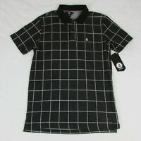 Volcom Mens Polo Shirt Black with White Lines Squares New AO1004A