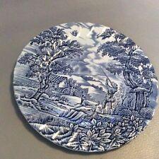 """Myott The Hunter Blue & White Plate 8 3/4""""  Hand Engraved"""