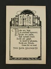 Vintage Antique Poem Bookplate 1930s 40s Gummed Ex Libris