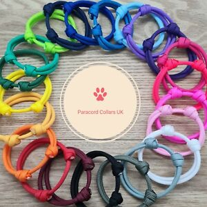 Paracord Whelping Puppy kitten Id Collars PAIRS, 48 COLOURS Reusable Adjustable