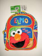 "Sesame Street Fuzzy Elmo 12"" Small Toddler Backpack - School Book Bag Boys"
