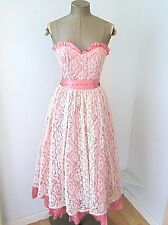 Vtg 80s Gunne Sax Pink Lace Strapless Prom Gown Formal Tea Dress Sash Ruffles 3