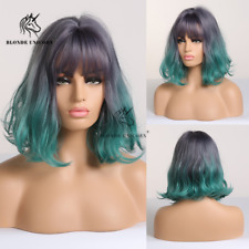 Party Wigs Blue Ombre Green Mixed Color Synthetic Hair Wigs for Womens Cosplay