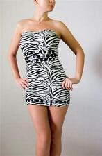 HOTSAUCE STYLE Zebra Bandeau Tube Nailhead Trim Mini Dress