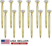12pcs Big Crystal Diamond Pen Metal Black Ink Ballpoint Pens -Gold -Best gift