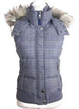 Esprit womens size 4 down vest gray fake fur hood heavy duty