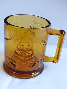 VTG Amber Glass Humpty Dumpty & Tom Tom Pipers Son Nursery Rhyme Child Mug Cup