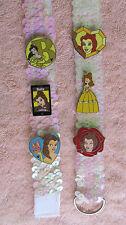 Disney Pins 6 Princess Belle Traders & New Pinkish Cream colored Sequin Lanyard