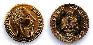 Mexico - Emperador Maximiliano. Medalla 1865. SC/UNC. Oro 0,5 g.
