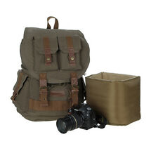 Koolertron Vintage Canvas DSLR Camera Padding Case Bag Travel Backpack For Canon