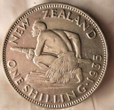 1935 NEW ZEALAND SHILLING - AU - High Value Coin - FREE SHIPPING - HV37