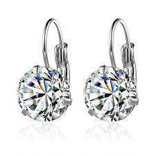 18k white Gold GF white Diamond simulant drop dangle brilliant earrings