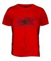 MOROCCO DISTRESSED FLAG MENS T-SHIRT TOP AMERRUK AL-MA?R?B ELME?RIB MOROCCAN