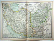 Original 1897 Map of Persia, Afghanistan & Baluchistan by The Century Company