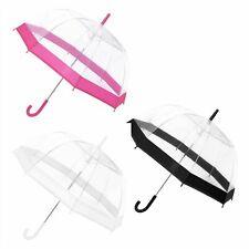 "23"" Clear Dome Umbrella White/Pink/Black Mens/Ladies Transparent Clear Umbrella"