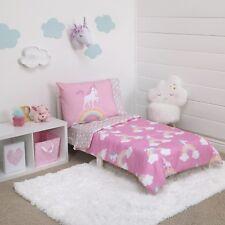 Toddler Bedding Set Unicorn Rainbow 4 Piece Kids Girl Pink Gift Comforter New