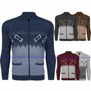 Mens Cardigan Zip Up Knitted Diamond Print Argyle Classic Zipped Grandad Aztec