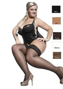 PLUS SIZE Hold ups Stockings 15 den Sheer Lace Top XL - XXXXL Adrian Bella new