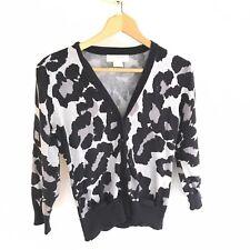 Michael Kors Women's Small Black Gray Animal Print Button Up Cardigan Sweater