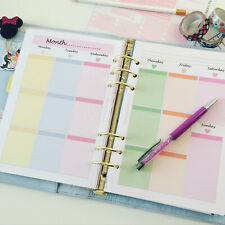 Printed A5 WO2P Pastel Week on 2 pages weekly plan planner insert refill Filofax