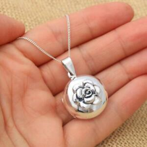925 Sterling Silver Round Rose Flower Photo Locket Pendant Necklace Jewellery