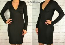 H&M NEW LADIES BLACK LONG SLEEVED BODYCON DRESS