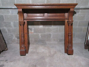 ~ ANTIQUE CARVED OAK FIREPLACE MANTEL ~ 60 X 51 WITH 42 OPENING ~ SALVAGE