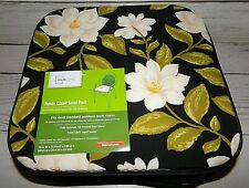 7 New Resin Patio Chair Pads Black with Dogwood Flowers Reversible