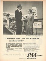1954 Original Advertising' Paa Pan American Airline Pan Am And The Rainbow