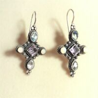 Sterling Silver CROSS 'Amethyst Blue Topaz Opal' Earrings #G