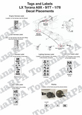 Decal Set, Loom Tags and Horns for LX A9X Torana 9/77 - 1/78