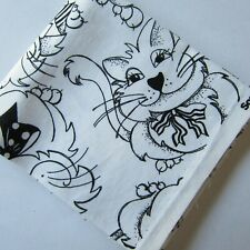 Fat Quarter Quilting Cotton Material White with Black Outlined Cats Hats
