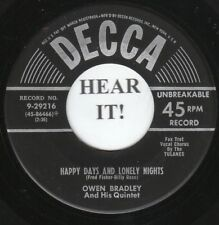 Owen Bradley POP 45 (Decca 29216) Happy Days And Lonely Nights /Friends And  VG+