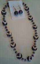 Kazuri Hand-Painted Fair Trade Gold Zebra Ceramic Necklace Earring Set Kenya